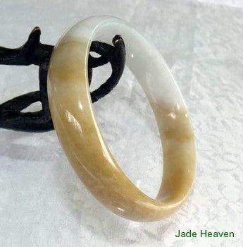 "Precious Rare ""Honey and White"" Old Mine Lao Pit Jadeite Jade Bangle Bracelet 57mm (JHBB292)"