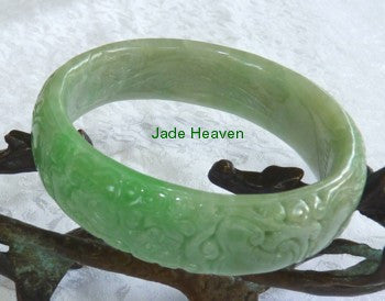 """Live Long and Prosper"" Carved Jadeite Jade Bangle Bracelet 57mm 58mm 59mm (JHBB297)"
