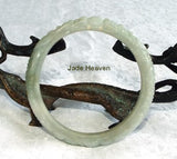 """Dragons Touch Heaven"" Carved Old Mine Lao Pit Jadeite Jade Bangle Bracelet 57.5mm (JHBB298)"
