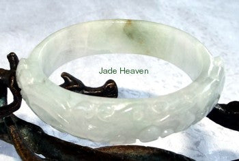 """Glorious Phoenix"" White Carved Jadeite Jade Small Oval Bangle Bracelet Fits Like 48mm 49mm (JHBB300)"