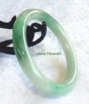 Qing Dynasty Old Mine Lao Pit Classic Round Imperial Green Grade A Jadeite Bangle Bracelet 59mm (JHBB301)