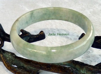 "Super Sale-""Happy Life"" Green Veins Old Mine Lao Pit Jadeite Jade Grade A Bangle Bracelet 55.3mm (JHBB3127)"