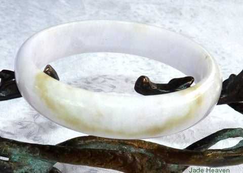 "Sale-""Ray of Heaven"" Honey Vein and Soft Lavender Hues  White Jadeite Jade Bangle Bracelet 58.5mm (JHBB-3130)"