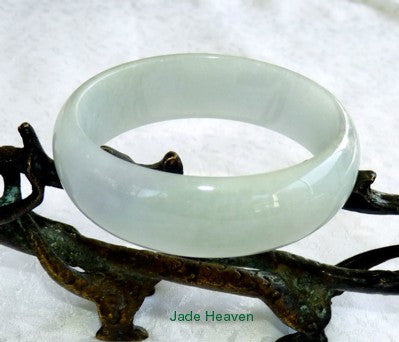 """Icy Glowing"" Burmese Jadeite Jade Bangle Bracelet with Soft Lavender Hues 59.6mm (JHBB3131)"
