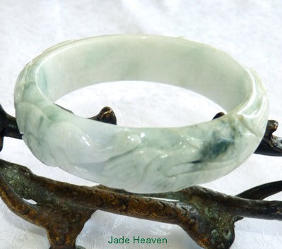 """Dragon and Phoenix Mate for Life"" Carved Burmese Jadeite Grade A Bangle Bracelet 57.5mm (JHBB3132)"