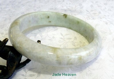 """Breath of Lavender"" Varied Color Veins Burmese Jadeite Jade Bangle Bracelet 63mm (JHBB3150)"
