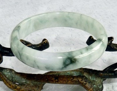 "Moss in Snow ""Glowing"" Old Mine Burmese Jadeite Bangle Bracelet 57mm (JHBB3152)"