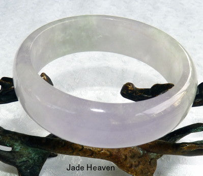 """Glassy"" Translucent Lavender and Green Old Mine Burmese Jadeite Bangle Bracelet 55mm (JHBB3276)"