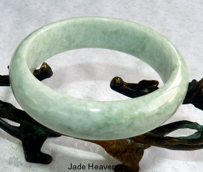 """Endlessly Interesting"" Burmese Old Mine Jadeite Bangle Bracelet 59mm (JHBB3278)"