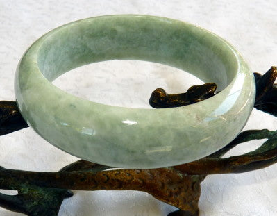 "Super Sale-""Heavenly"" Green Burmese Old Mine Jadeite Bangle Bracelet 55mm (JHBB3285)"