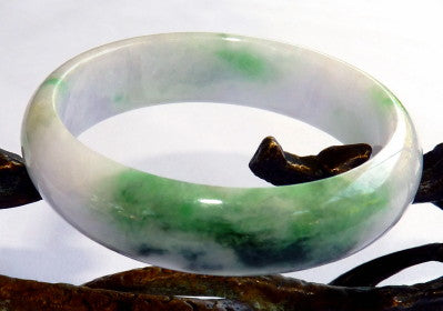 """Bliss on Your Wrist"" Lavender Hues, Good Green Vein Burmese Jadeite Bangle Bracelet 53.5mm (JHBB3295)"