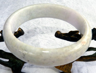 "White Lavender Hues Burmese Jadeite ""Old Mine Bangle Bracelet 58 mm (JHBB3306)"