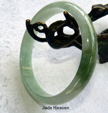 """Good Green"" Burmese Jadeite ""Old Mine"" Bangle Bracelet 64.5 mm (JHBB3307)"