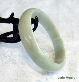 Super Sale-Yin Green with Charcoal Hues Old Mine Lao Pit Grade A Jadeite Jade Bangle 63mm (JHBB555)