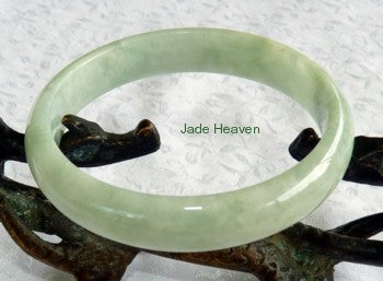 "Super Sale-""Body Mind and Spirit"" Balancing Old Mine Lao Pit Jadeite Jade Bangle Bracelet 54mm (JHBB559)"