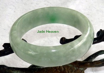 """Smoky Spiritual""  Grey Green  Translucent Elegant Jadeite Jade Bangle Bracelet 55.5mm (JHBB561))"
