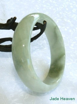 "Super Sale-""Glowing"" Silky Smooth Varied Green Old Mine Lao Pit Jadeite Jade Bangle 57.5mm (JHBB566)"