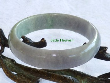 Lavender and Green Old Mine Lao Pit Grade A Jadeite Jade Bangle Bracelet 59mm (JHBB569)