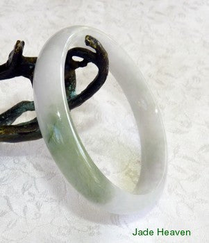 "Heavenly Kiss of Green"" on White Jadeite Jade Bangle Bracelet 54.5mm (JHBB576-2)"