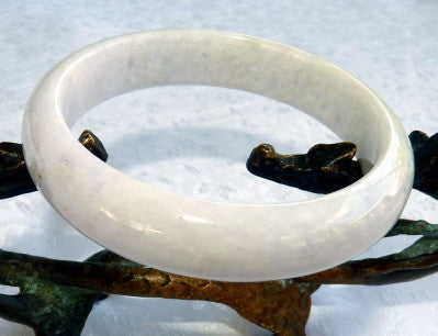 """Secret Treasure"" White Lavender Hues Old Mine Lao Pit Jadeite Jade Bangle Bracelet 58mm (JHBB601)"