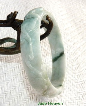 """Happiness, Healthy, Good Fortune"" Burmese Jadeite Carved Bangle Bracelet 57.5mm (JHBB602)"