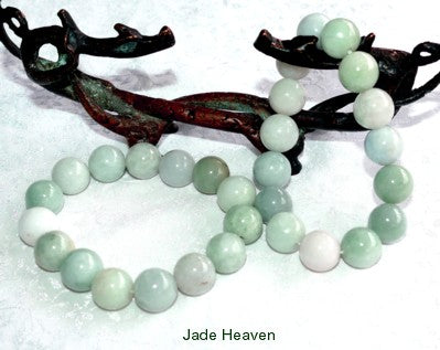 """Calm Your Spirit"" Burmese Jadeite Grade A 13mm Bead Stretch Bracelet (JHBB-Beads-11)"