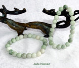 Burmese Jadeite Varied Green Natural Color 8mm Elastic Bracelet (JHBEADS-15)