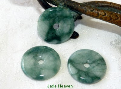 "Heavenly Color and Quality Burmese Jadeite Jade ""Bi"" Donut Circle Pendant (JHBI-511)"