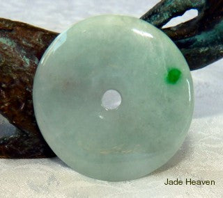 "Imperial Green Jade ""Dot of Heaven"" Bi Pendant + Certification (287)"