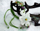 """Mei"" Beautiful Flower Burmese Jadeite Adjustable Bracelet (JHBRAC-19)"