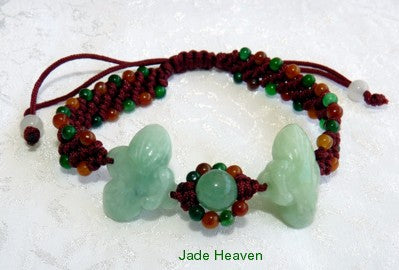 """Happiness"" Bees Love Jade Burmese Jadeite Adjustable Bracelet (JHBRAC-20)"