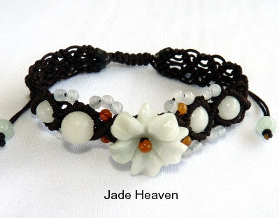 "Burmese Jadeite ""Heavenly Flower"" Adjustable Bracelet (JHBRAC-25)"