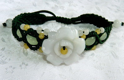 "Premium Burmese Jadeite ""Elegant Flower"" Carved Adjustable Bracelet (JHBRAC-27)"