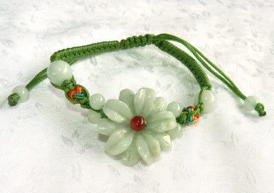 "Premium Burmese Jadeite ""Elegant Flower"" Carved Adjustable Bracelet (JHBRAC-28)"