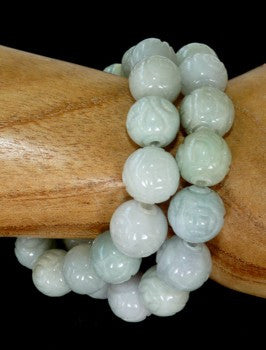 Carved Jadeite Bead Bracelet Custom Made For Jade Heaven  (JHBRAC-18)