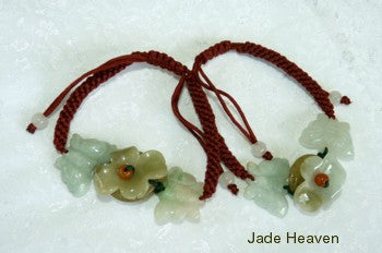 Burmese Jadeite  Flower and Butterfly Adjustable Bracelet (JHBRAC-13)