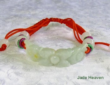 """Mei"" Heavenly Flower Adjustable Jadeite Jade Bracelet (JHBRAC-15)"