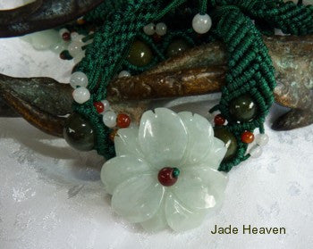 "Sale-Premium Burmese  Jadeite Jade ""Chrysanthemum"" Carved Flower Adjustable Bracelet (JHBrac-8)"