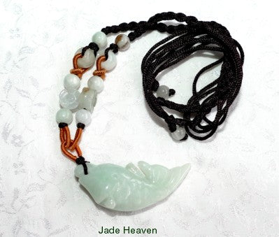 "Sale-Auspicious ""Fish Brings Fortune"" Burmese Jadeite Pendant Necklace (JHNECK-36)"