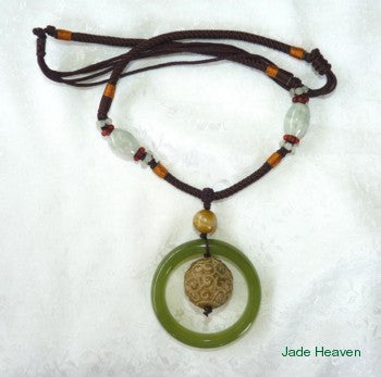 """Double Heaven"" Jade Bangle Necklace with Carved Round Ball (JHNECK-15)"
