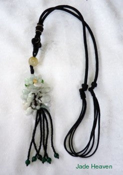 Jade Lotus Flower and Peanuts Adjustable Silk Cord Necklace (JHNECK-16)