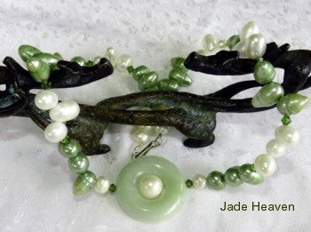 "Auspicious ""Bi"" Jade and White and Green Pearl Necklace  (JHNECK-35)"