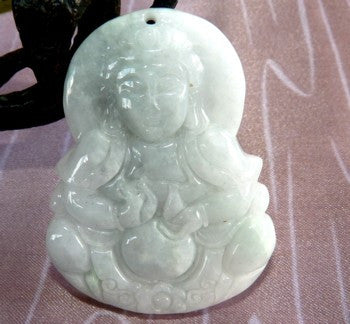Big and Bold Jadeite Jade Pendant Carving Guan Yin, Buddha of Compassion (JHP125)