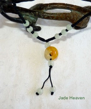 Hollow Carved Jadeite Jade Bead Pendant Necklace-Natural Honey Veins (JHP-22)
