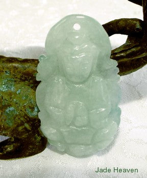 Vintage Jadeite Guan Yin,  Buddha of Compassion Pendant (JHP87)