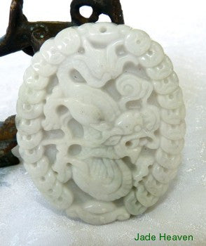 "Auspicious Very Detailed Carving White Jadeite ""Dragon and Phoenix"" Pendant (JHP98)"