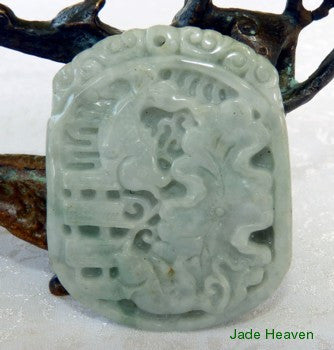 "Auspicious ""Fish and Lotus"" Well Carved Jadeite Jade Pendant (JHP100)"