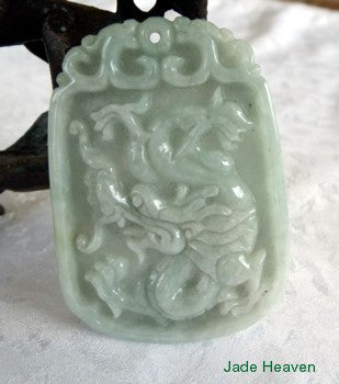 Well Carved Old Mine Jadeite Dragon Pendant (JHP97)