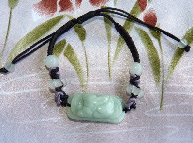 "Burmese Jadeite ""Moon Rabbit"" Adjustable Bracelet (JHBRAC-21)"