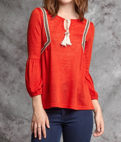 Red Peep Hole Top With Tassel